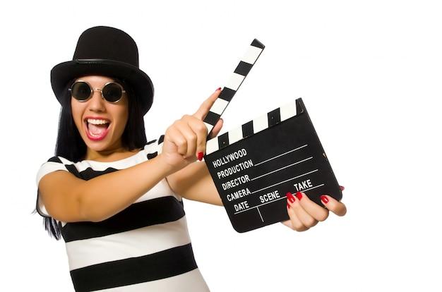 Mujer con chapaleta de película en blanco