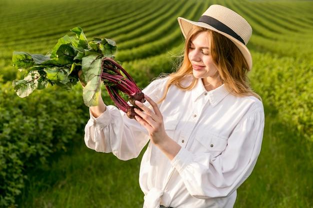 Mujer, comprobación, vegetal