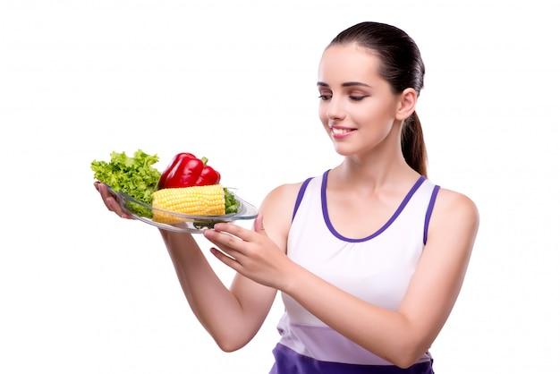 Mujer en concepto de alimentación saludable