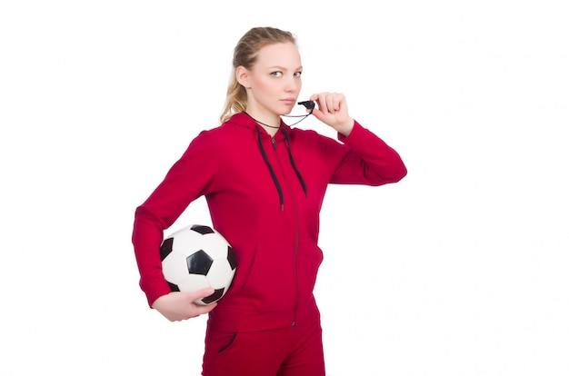 Mujer en concepto de deportes aislado en blanco