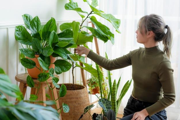 Mujer cuidando y cuidando su planta