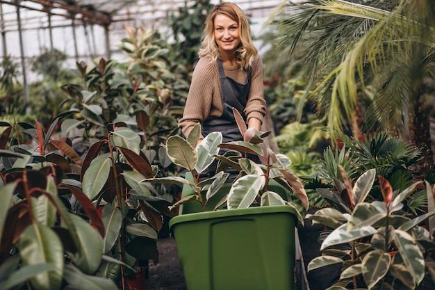 Mujer cuidando las plantas en un invernadero