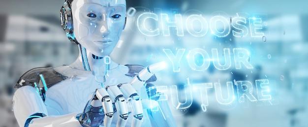 Mujer cyborg blanca que usa la futura decisión de la interfaz de texto renderizado 3d