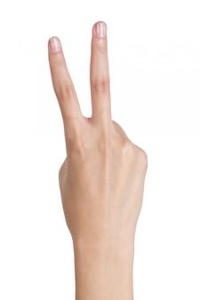 La mujer da la victoria de la muestra que gesticula por el lado trasero de la mano aislado en blanco