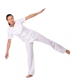 Mujer deporte haciendo ejercicio de yoga