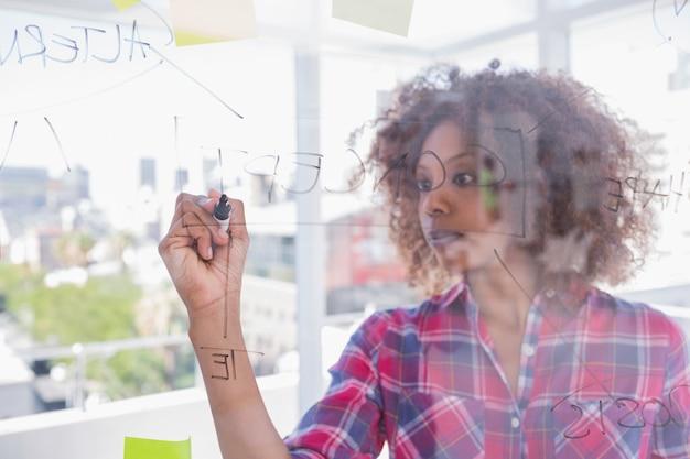 Mujer dibujando en diagrama de flujo con marcador
