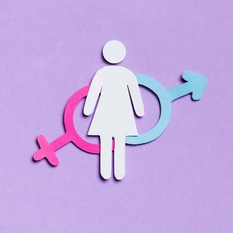 Mujer de dibujos animados con signos de género femenino y masculino