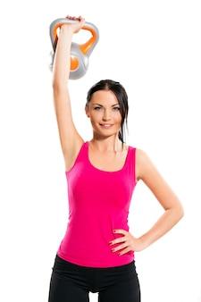 Mujer durante ejercicios de fitness