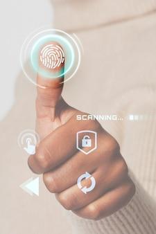 Mujer escaneando huellas dactilares con tecnología inteligente de interfaz futurista