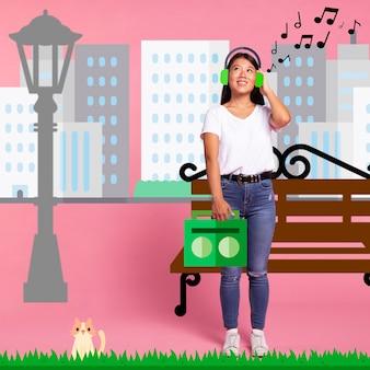 Mujer escuchando música en iconos auriculares