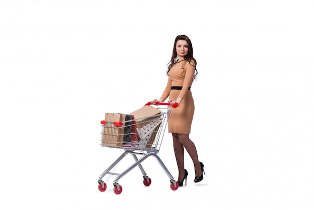 Mujer feliz después de buenas compras aislada en blanco