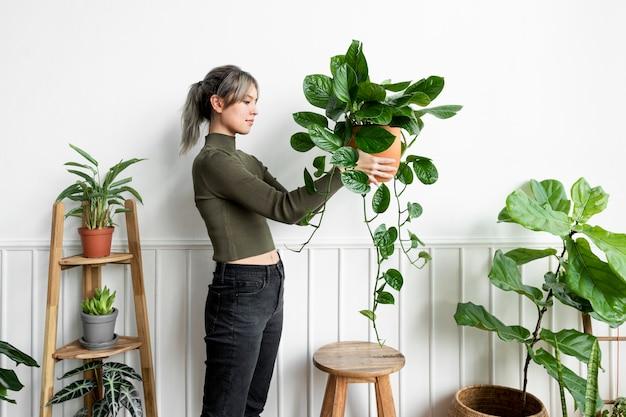 Mujer feliz, proceso de llevar, un, planta de interior