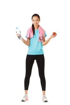 Mujer fitness saludable aislada