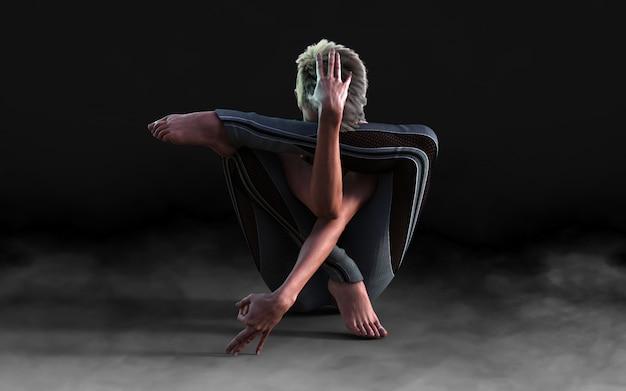 Mujer flexible bailando y posando en la oscuridad con humo