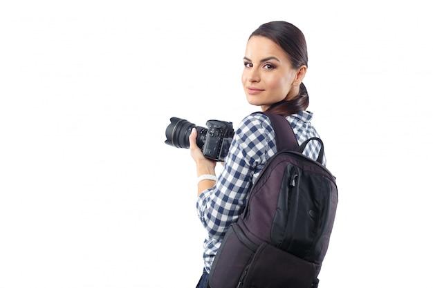 Mujer fotógrafo en el trabajo