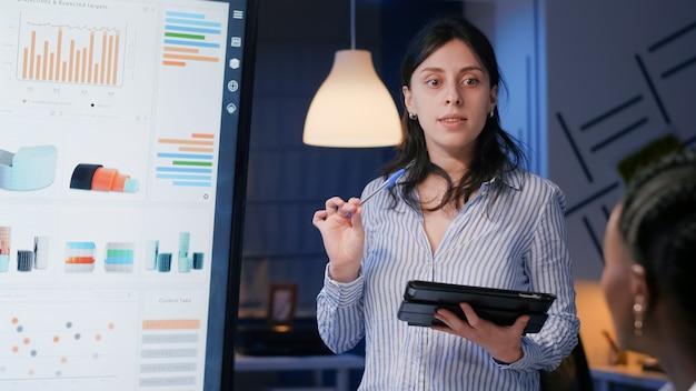 Mujer gerente ejecutiva solución de gestión de lluvia de ideas que muestra la estrategia de la empresa