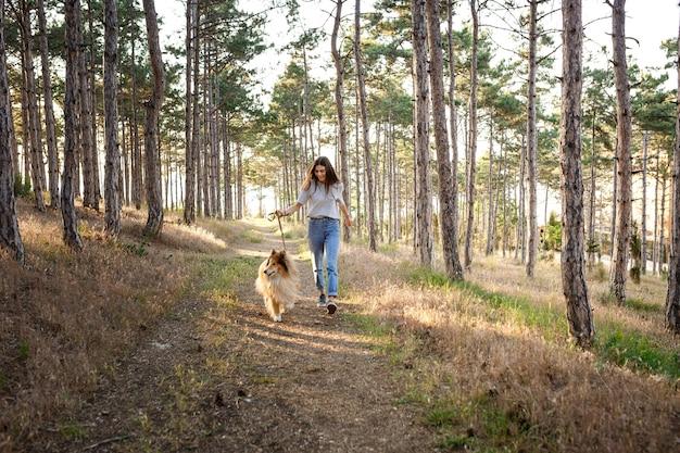 Mujer hermosa joven con el pelo largo caminando con perro collie. al aire libre en el parque. cerca del mar, playa de verano