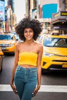Mujer hermosa, en, nueva york