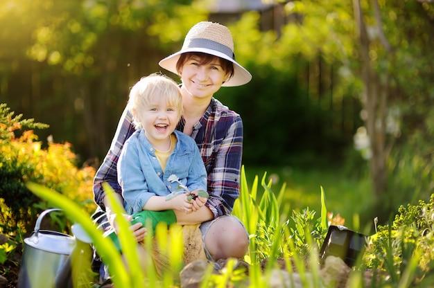 Mujer hermosa y su hijo lindo que plantan almácigos en cama en el jardín doméstico en el día de verano