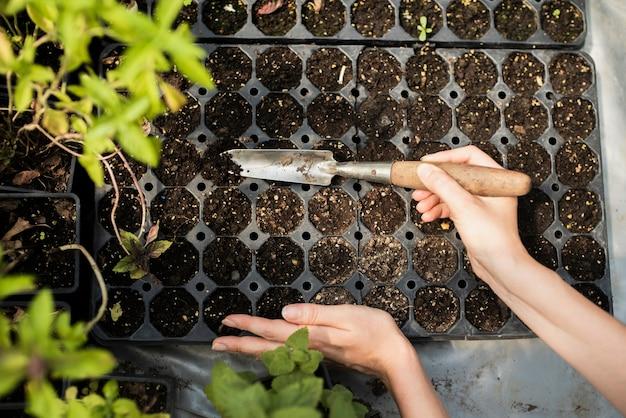 Mujer de jardinería con lanzador de jardín