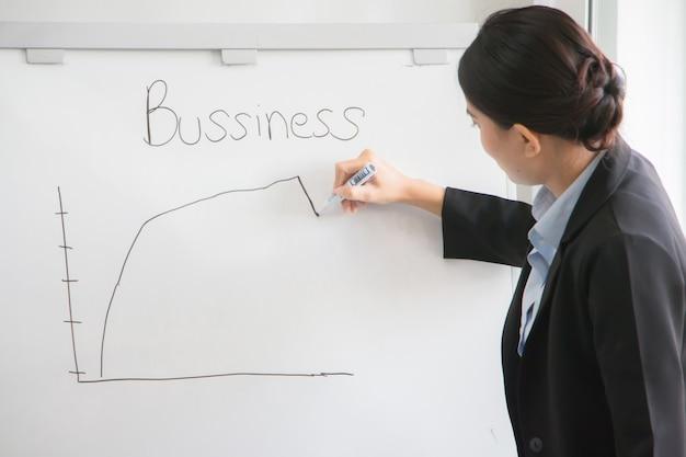 Mujer joven, analista financiera y de marketing, está dibujando un gráfico de ventas en el primer trimestre del año que está cayendo