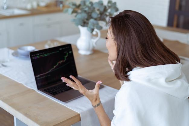 Mujer joven en casa en la cocina con una sudadera con capucha blanca con una computadora portátil, un gráfico de crecimiento en la pantalla