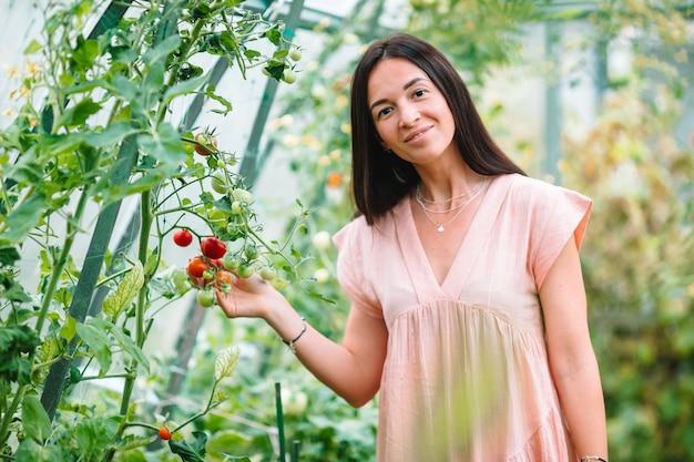 Mujer joven con cesta de vegetación y verduras en el invernadero. tiempo de cosecha