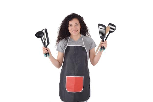 Mujer joven, cocina