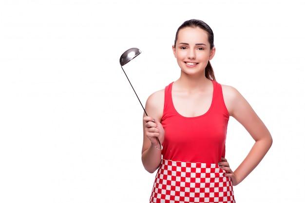 Mujer joven con cucharón aislado en blanco