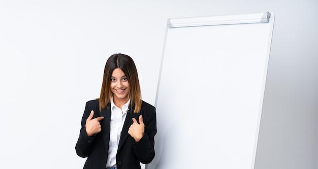 Mujer joven dando una presentación en la pizarra con expresión facial sorpresa