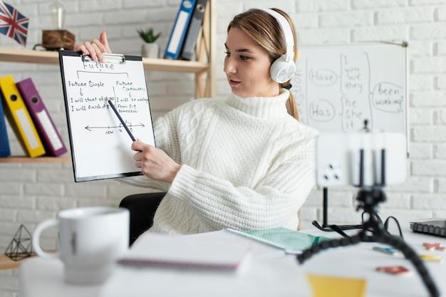 Mujer joven enseñando a los niños una lección de inglés en línea