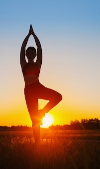 Mujer joven haciendo yoga al atardecer en verano