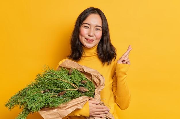 Mujer joven morena positiva lleva un ramo de abeto verde para decorar la casa en año nuevo pide deseos y cruza los dedos para preparar la composición navideña