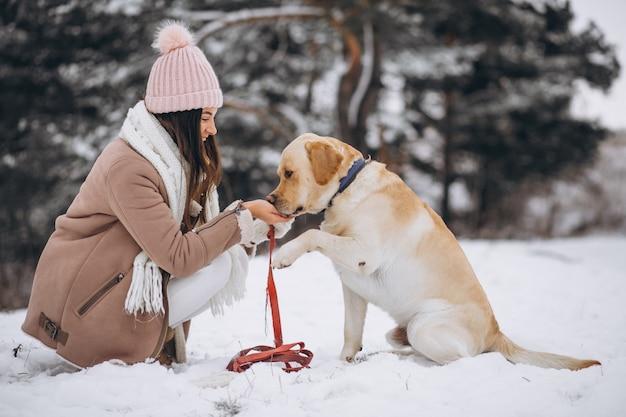 Mujer joven que camina con su perro en un parque de invierno