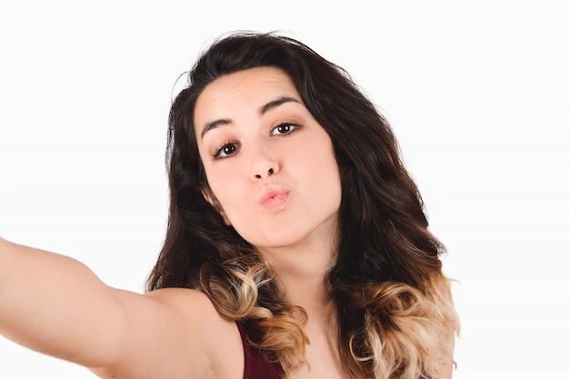 Mujer joven, toma, selfie