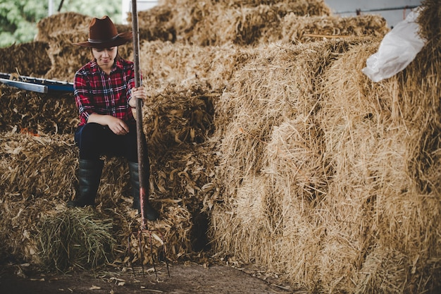 Mujer joven trabajando con heno para vacas en granja lechera