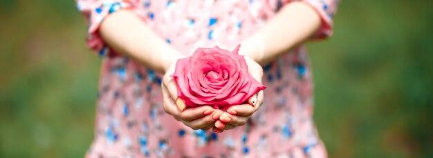 Mujer joven en un vestido rosado que sostiene poca rosa del rosa en sus manos. de cerca
