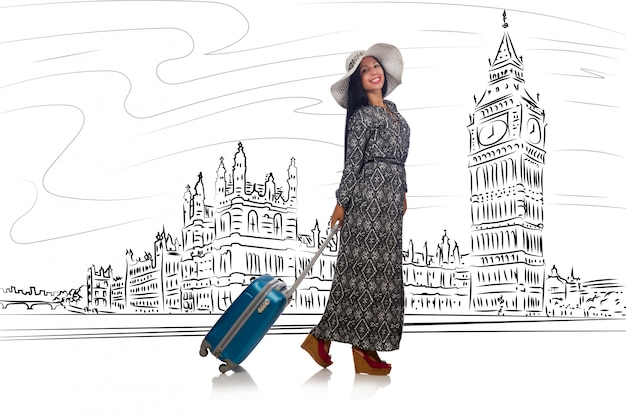Mujer joven viajando a londres en reino unido