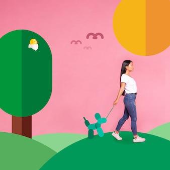 Mujer de lado paseando un perro iconos