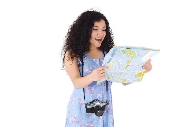 Mujer latina en un viaje.