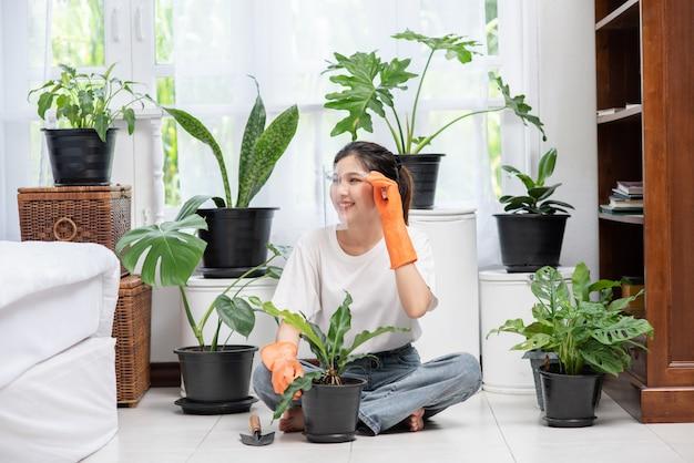 La mujer llevaba guantes naranjas y plantaba árboles en la casa.