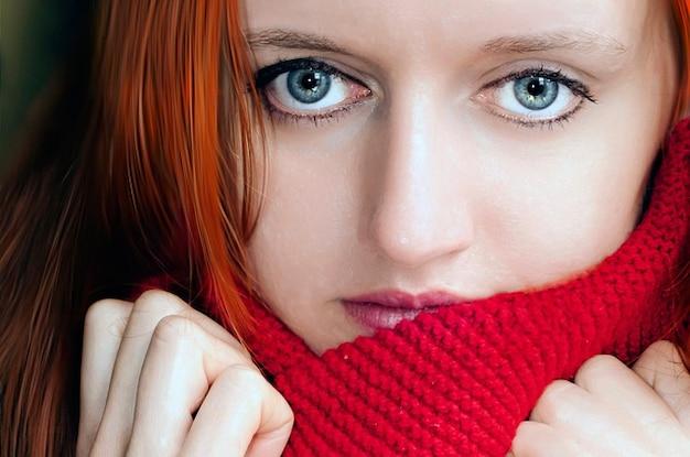 Mujer macro córnea bufanda iris ojos