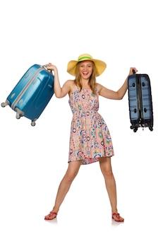 Mujer con maleta aislada