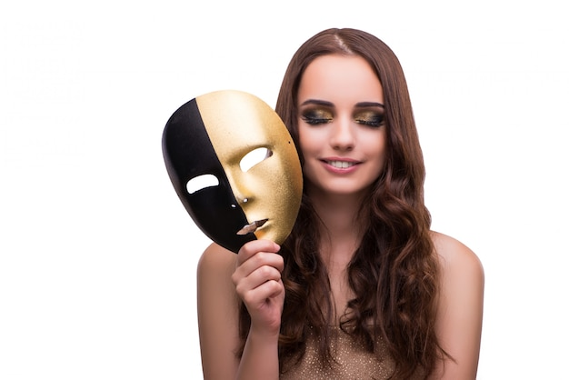 Mujer con máscara de carnaval aislada en blanco