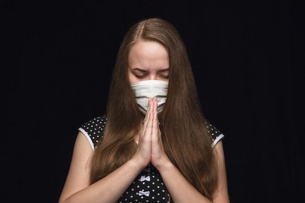 Mujer, en, máscara protectora