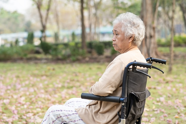 Mujer mayor asiática sentada en silla de ruedas en el parque