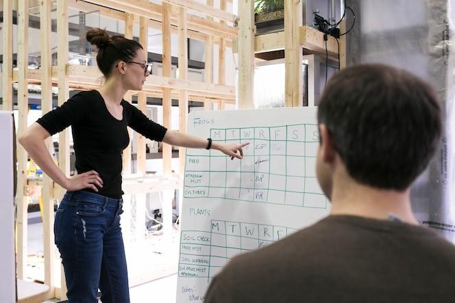 Mujer mostrando horario a compañero de trabajo