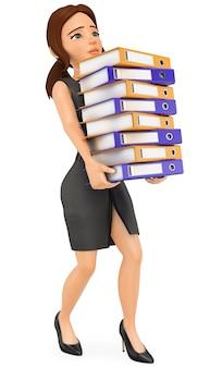 Mujer de negocios 3d cargando con muchas carpetas de anillas. sobrecarga de trabajo