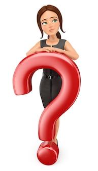 Mujer de negocios 3d con un gran signo de interrogación. dudas