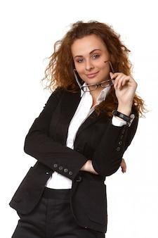 Mujer de negocios, con, anteojos